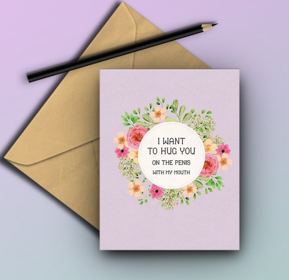 Rude funny 2018 valentines day card penis mouth