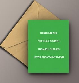 incredible hulk smash funny rude card